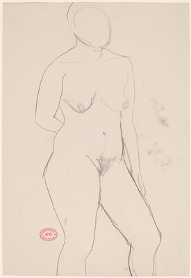 Untitled [standing female nude with right arm behind back]