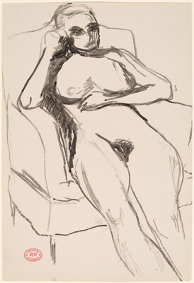 Untitled [female nude lying back with legs out straight]