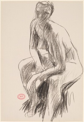 Untitled [seated female nude leaning forward]