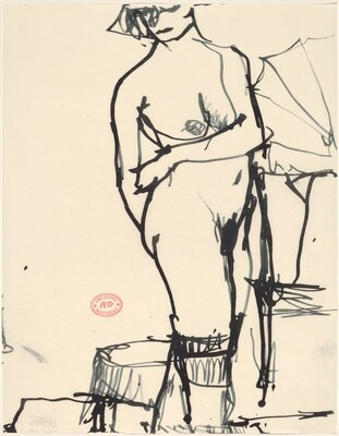 Untitled [standing female nude looking over her shoulder]