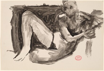 Untitled [seated female nude leaning on a support]