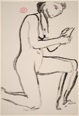 Untitled [female nude kneeling on right knee]