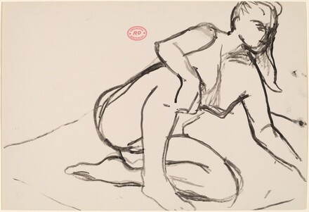 Untitled [seated female nude reaching with right arm]