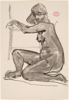 Untitled [female nude seated on floor resting arms on chair]