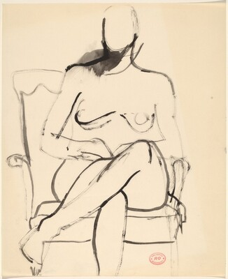 Untitled [seated female nude with crossed legs]