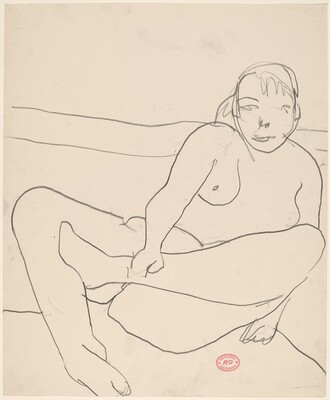 Untitled [female nude leaning back and grasping ankle]