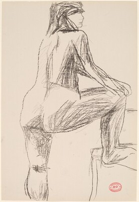 Untitled [female nude with right foot on chair]