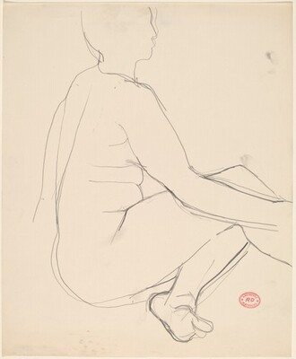 Untitled [seated female nude with left leg tucked under]