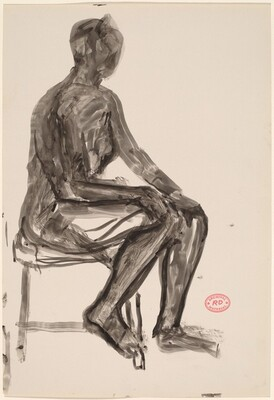 Untitled [seated female nude with right foot on stretcher of chair]