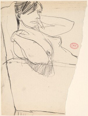 Untitled [female nude leaning back with hands to shoulders]