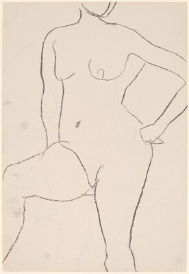 Untitled [standing female nude with left hand on hip] [recto]