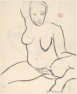 Untitled [seated female nude with raised right arm] [recto]