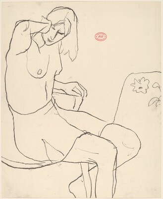 Untitled [seated female model without a top and wearing a skirt]