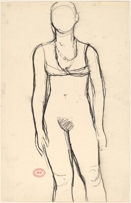 Untitled [standing nude in bra and necklaces]