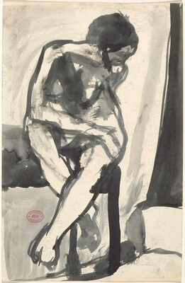 Untitled [seated nude crossing her legs and turning right]