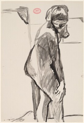 Untitled [female model standing in the studio and looking down]