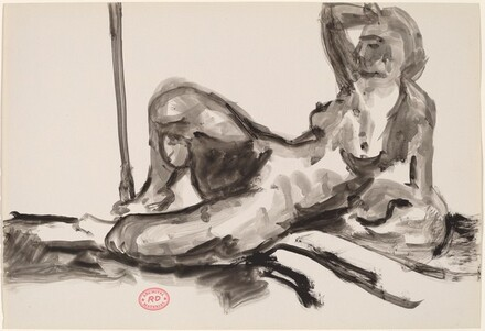 Untitled [reclining nude resting on her left side and raising her right arm]