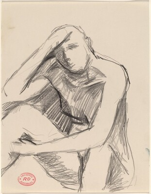 Untitled [seated nude with her hand on her forehead]