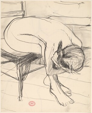 Untitled [seated female nude leaning forward and down] [recto]