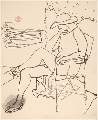 Untitled [woman in a hat seated in a garden]