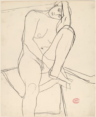 Untitled [seated nude leaning on her left leg]
