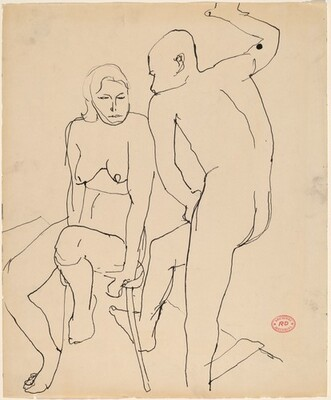 Untitled [standing male and seated female nudes]