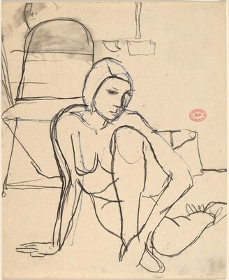Untitled [female nude seated on the floor]
