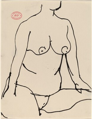 Untitled [nude seated resting her hands on her thighs]