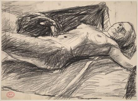 Untitled [female nude lying back on fabric]