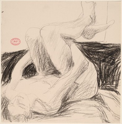 Untitled [nude lying on her back and cradling her legs]