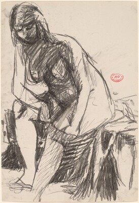 Untitled [female nude seated on a draped stool and leaning forward]