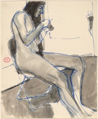 Untitled [seated female nude holding and examining an object]