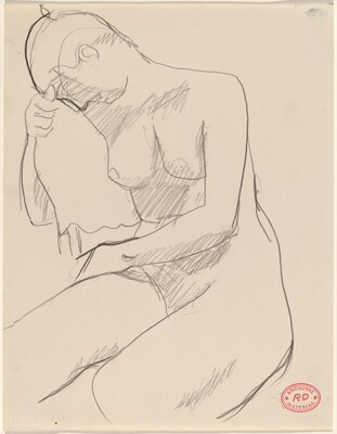 Untitled [nude seated resting her head and arm on chair back]