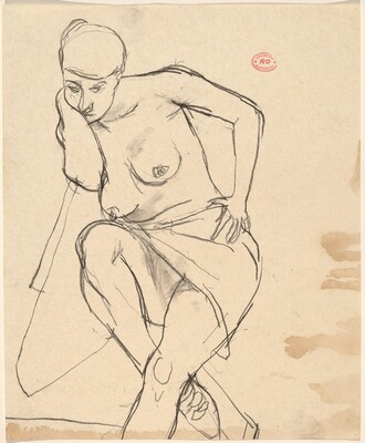 Untitled [seated nude covered across her thighs]