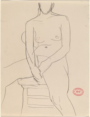 Untitled [nude seated with hands resting between her thighs]