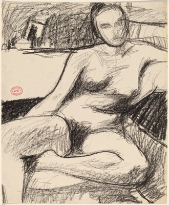 Untitled [nude seated with her left foot pulled under her]