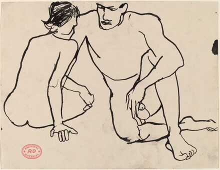 Untitled [a male and female nude seated on the floor]