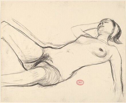Untitled [reclining nude wearing a headband]