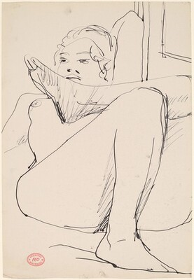Untitled [nude lying back with her arm behind her head and legs crossed]