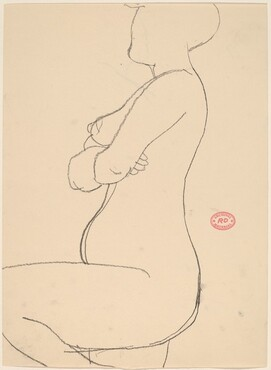 Untitled [side view of a kneeling nude crossing her arms] [recto]