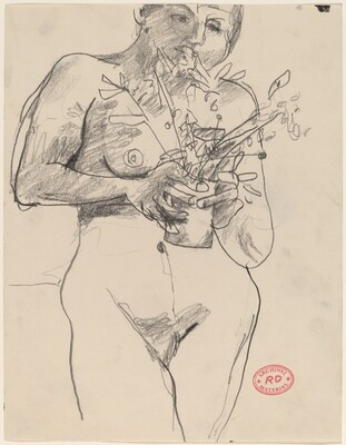 Untitled [female nude holding plants]
