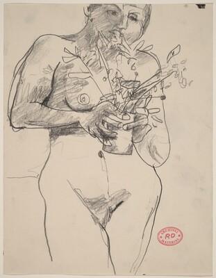 Untitled [female nude holding plants]