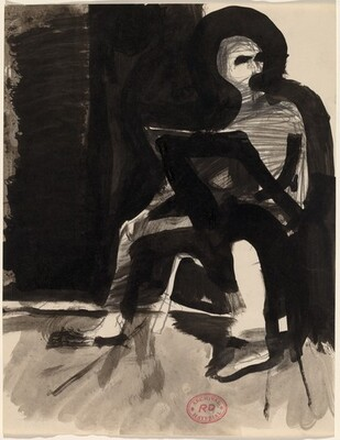 Untitled [seated figure abstracted]