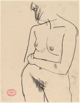 Untitled [standing nude turned with her hair hiding her face]