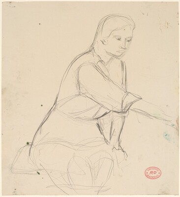 Untitled [seated woman extending right arm]