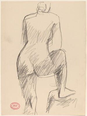Untitled [back view of a nude with her right foot on a pedestal]