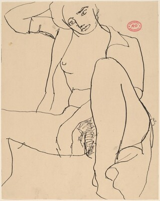 Untitled [seated female nude in an open shirt]