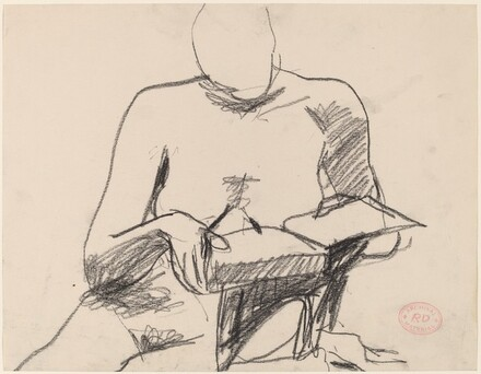 Untitled [seated female nude reading a book]