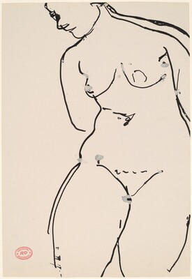 Untitled [female nude leaning left]