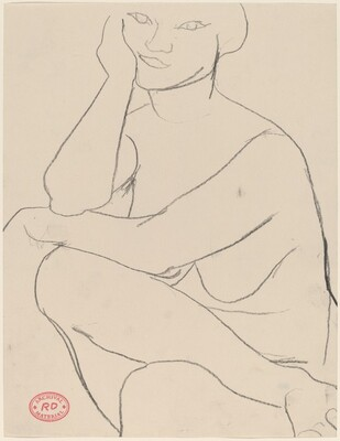 Untitled [seated nude resting her arms on her crossed leg]
